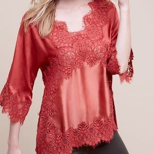 Moulinette Souers XS Top Orange Red Lace Anthro